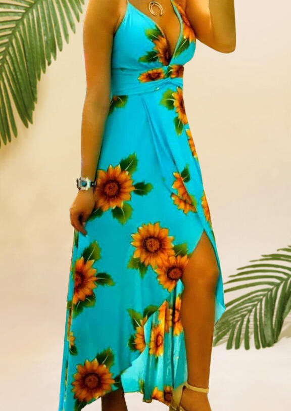 Maxi Dresses Sunflower Open Back Maxi Dress without Necklace - Cyan. Size: S,M,L,XL фото