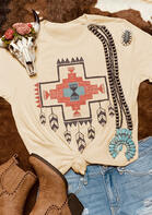 Feather Cross Geometric T-Shirt Tee