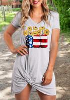 Summer Outfits Sunflower American Flag Wine Bottle Mini Dress