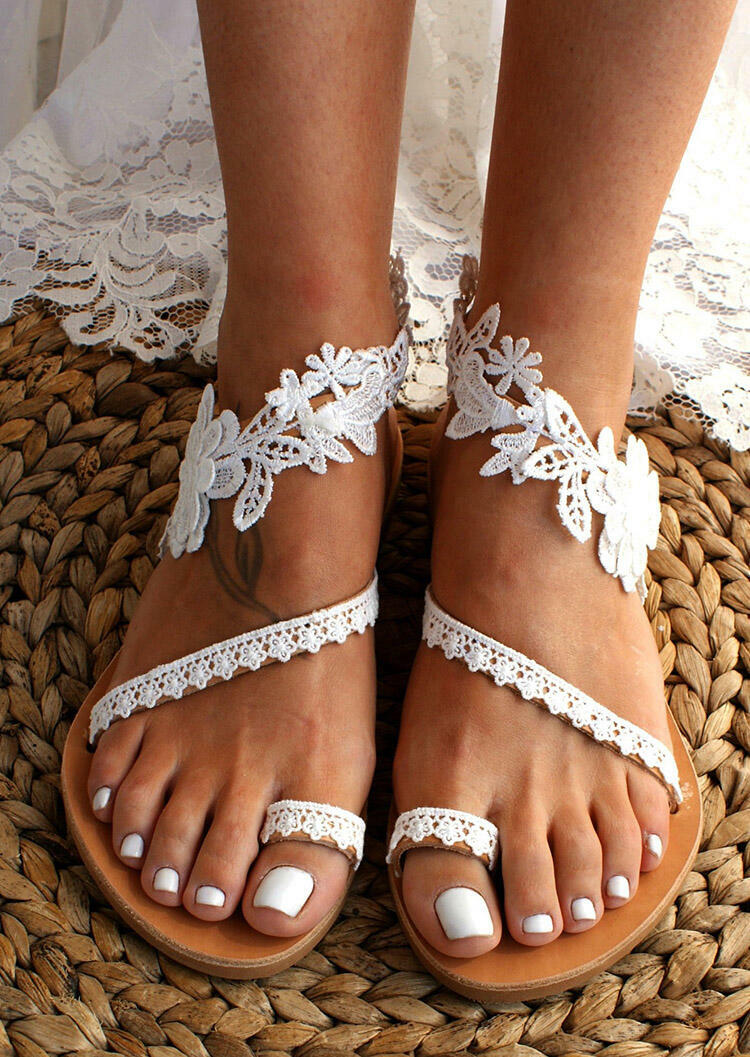 Summer Lace Slip-On Flat Sandals фото
