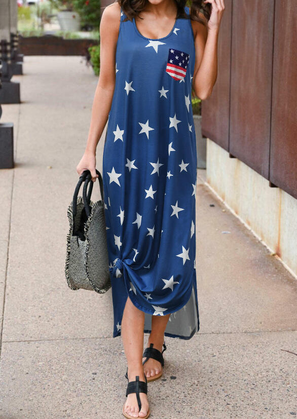American Flag Star Pocket Sleeveless Maxi Dress - Blue фото