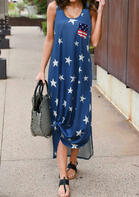 Summer Outfits American Flag Star Pocket Sleeveless Maxi Dress