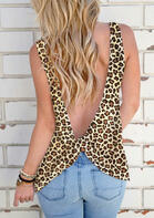 Summer Outfits Leopard Open Back Tank