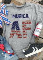 'Murica American Flag Star T-Shirt Tee