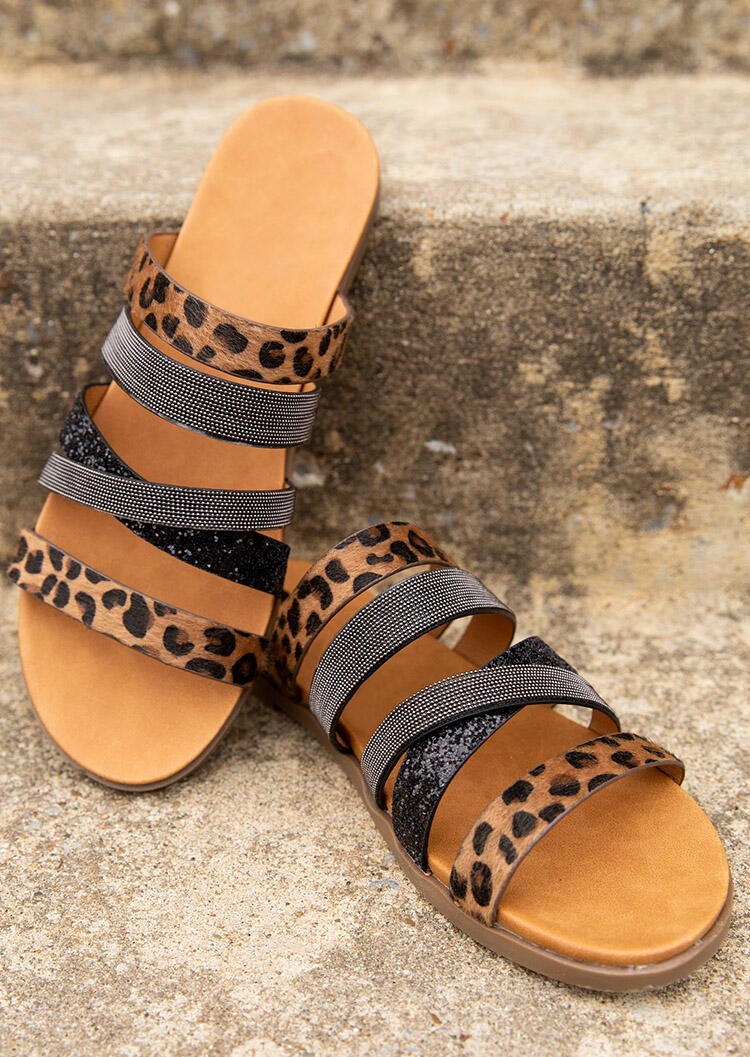 Leopard Sequined Round Toe Flat Slippers