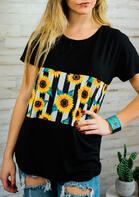 Sunflower Striped Splicing T-Shirt Tee