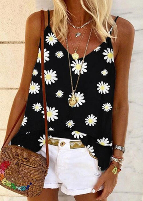 Tank Tops Daisy V-Neck Camisole without Necklace in Black. Size: S,M,L,XL фото