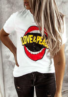 Summer Outfits Love & Peace Lips T-Shirt Tee