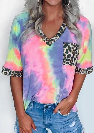 Tie Dye Leopard Splicing Pocket T-Shirt Tee