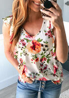 Summer Outfits Floral Ruffled Hollow Out Tank