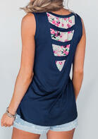 Summer Outfits Floral Pocket Splicing Tank