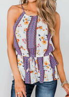 Summer Clothes Floral Ruffled Drawstring Camisole