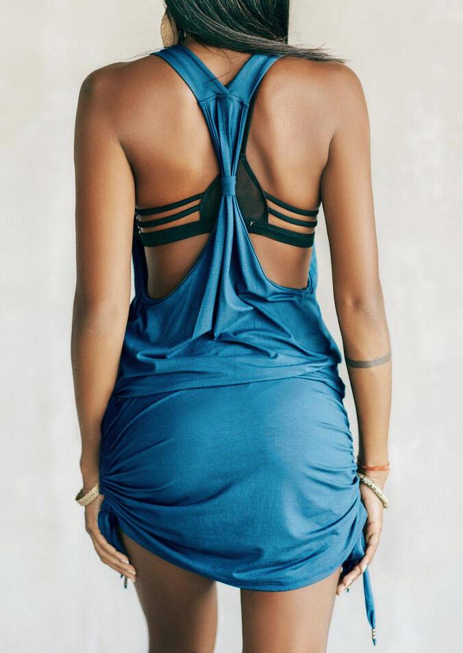 Open Back V-Neck Ruffled Mini Dress - Blue фото