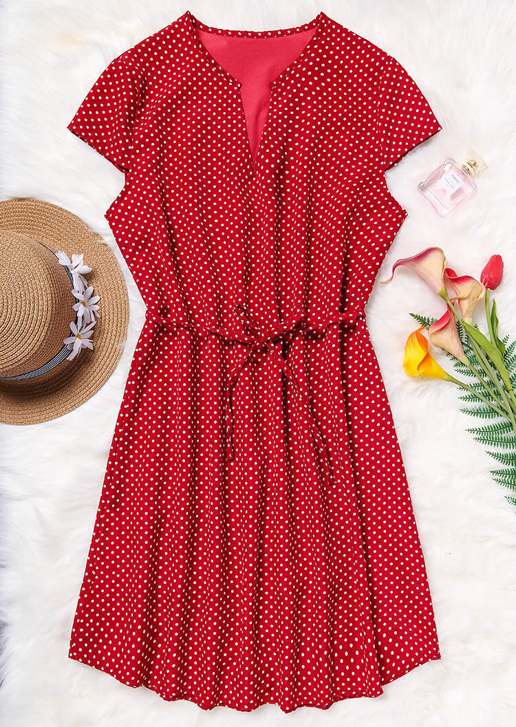 Mini Dresses Polka Dot Drawstring Mini Dress in Red. Size: S фото
