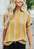 Striped Splicing T-Shirt Tee