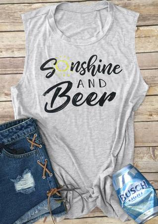 Sunshine And Beer Tank - Light Grey