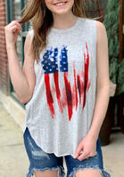 Summer Outfits American Flag Star Casual Tank