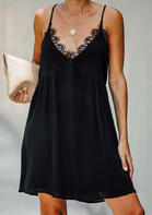 Summer Outfits Lace Splicing Hollow Out Mini Dress