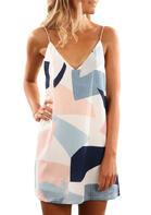Summer Outfits Geometric Spaghetti Strap V-Neck Mini Dress