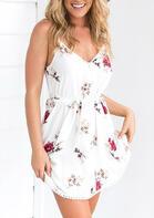Summer Outfits Floral Spaghetti Strap Tassel Mini Dress