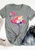 Flamingo O-Neck T-Shirt Tee