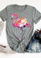 Flamingo O-Neck T-Shirt Tee
