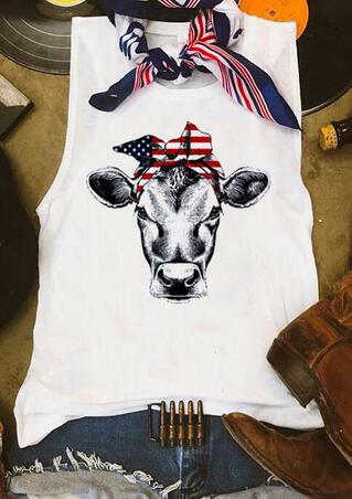 American Flag Star Cattle Tank - White