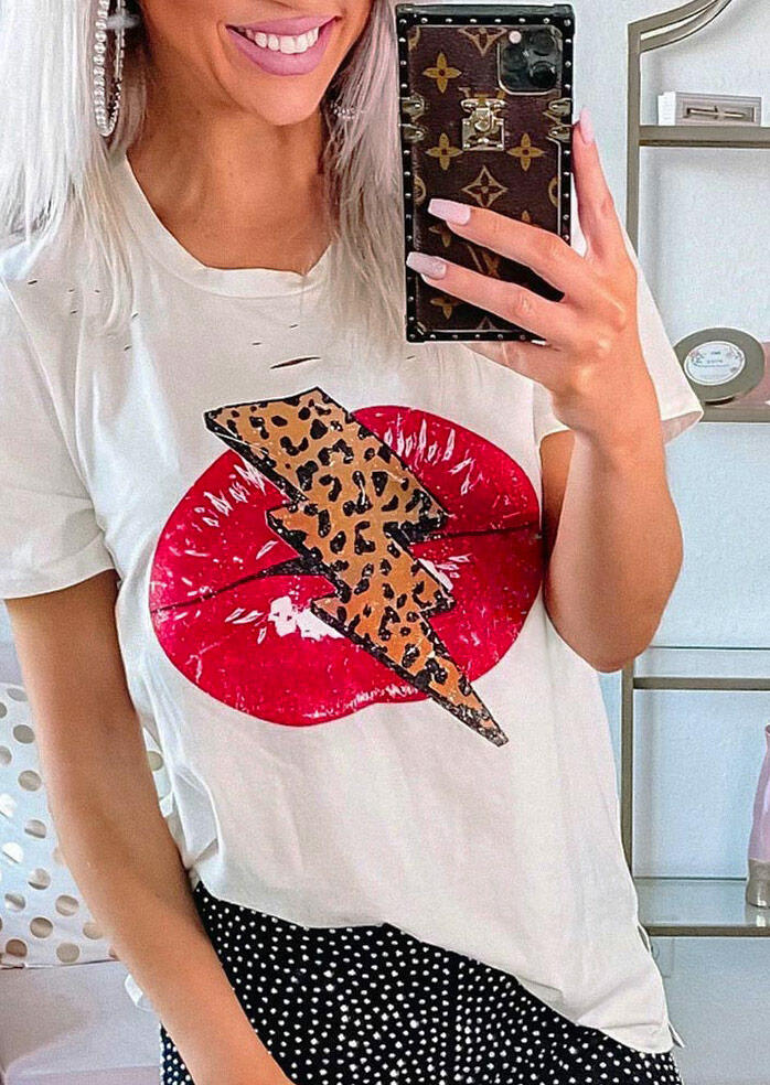 Leopard Lips T-Shirt Tee - White фото