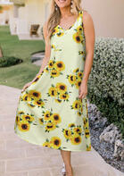 Trendy Summer Outfits Sunflower V-Neck Maxi Dress
