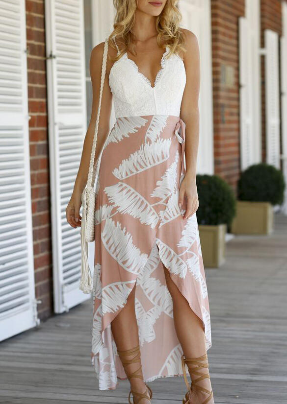 Casual Dresses Lace Splicing Open Back Asymmetric Casual Dress in White. Size: M,L,XL фото
