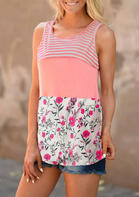 Floral Color Block Striped Splicing Tank