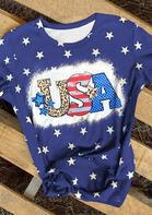 Leopard Star USA O-Neck T-Shirt Tee