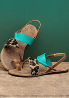 Leopard Round Toe Flat Sandals