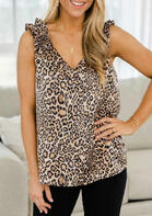 Summer Outfits Leopard V-Neck Tank