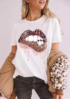 Leopard Lips O-Neck T-Shirt Tee - White