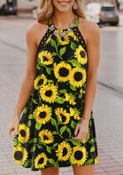 Sunflower Lace Splicing Open Back Halter Mini Dress