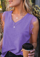 Lace Splicing V-Neck Tank
