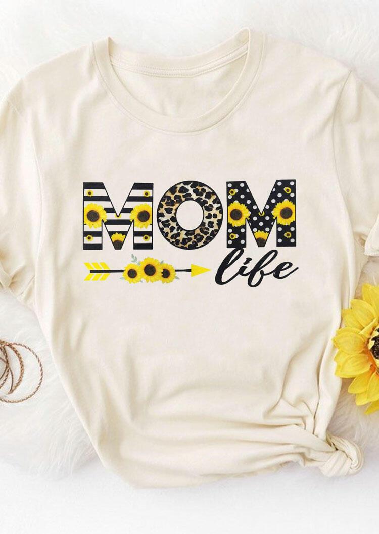Sunflower Leopard Mom Life T-Shirt Tee - Beige фото