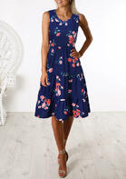 Floral Ruffled Sleeveless Casual Dress