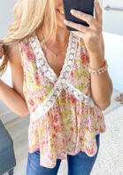 Summer Oufits Floral Lace Splicing Ruffled Tank