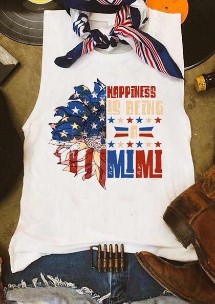 Tank Tops Happiness Is Being A Mimi Sunflower American Flag Tank in White. Size: M,L фото