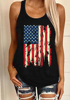 Summer Outfits Casual American Flag Star Tank