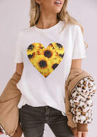 New Arrivals Sunflower Heart O-Neck T-Shirt Tee