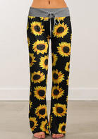 Summer Outfits Sunflower Drawstring Wide Leg Pants