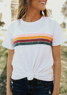 Summer Outfits Striped Splicing O-Neck T-Shirt Tee