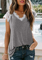 Summer Outfits Lace Splicing V-Neck Blouse