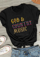 Summer Outfits Leopard Sunflower God & Country Music T-Shirt Tee