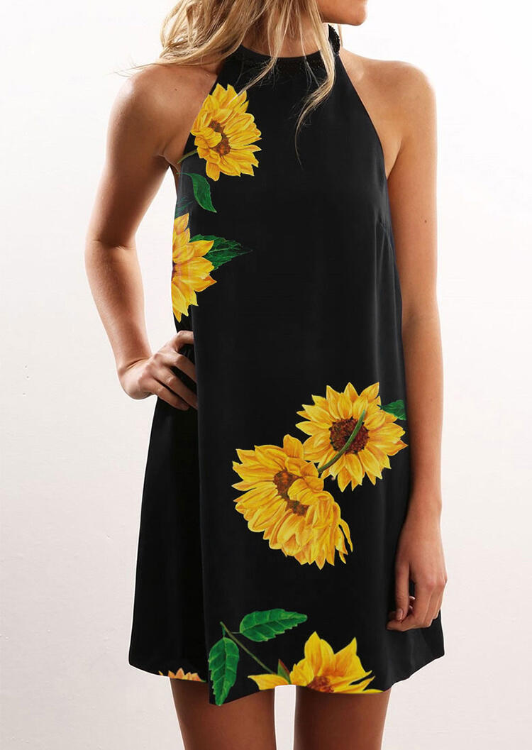 FairySeason / Sunflower Halter Casual Mini Dress - Black