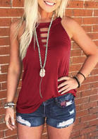 Hollow Out Tank without Necklace - Burgundy