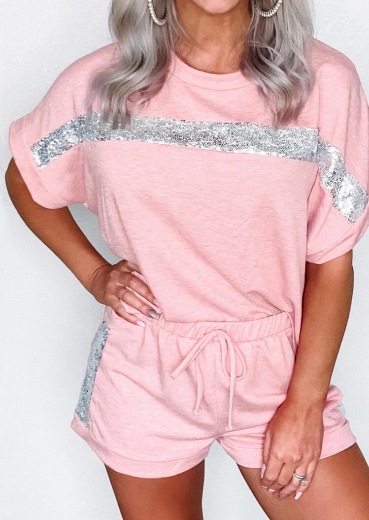 Sequined Splicing Drawstring Tie Activewear Set - Pink фото